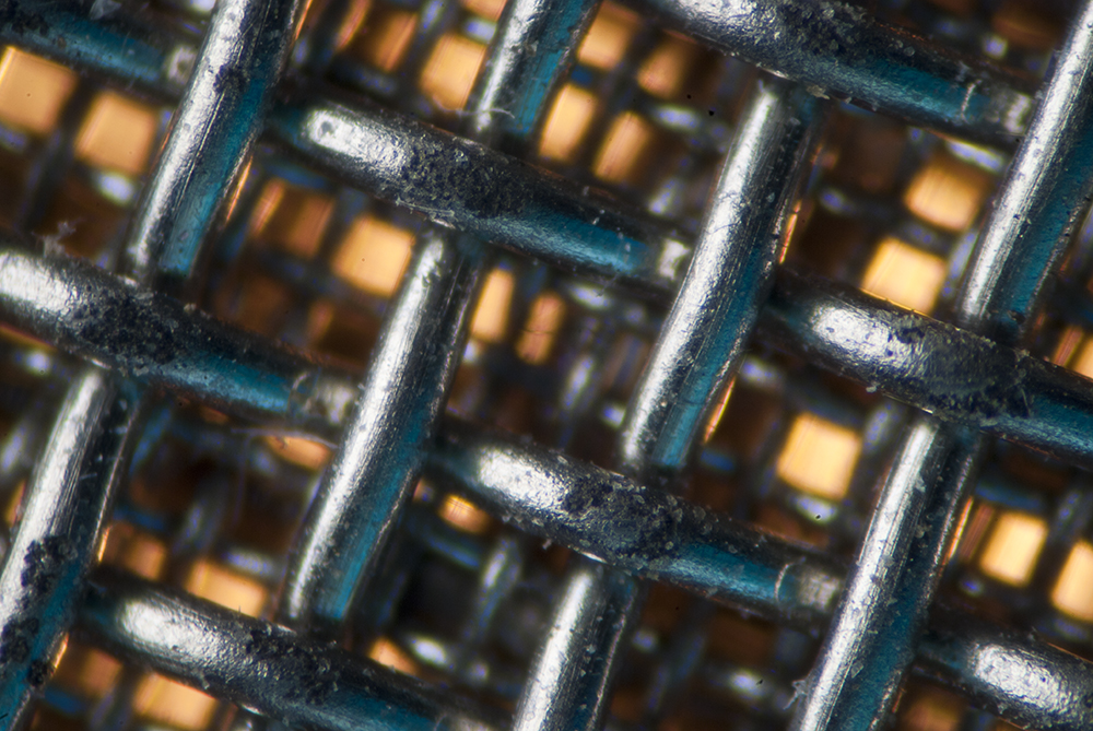 close-up of metal mesh
