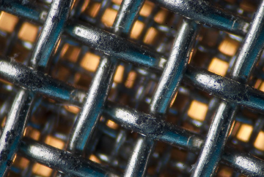 close-up of metal mesh