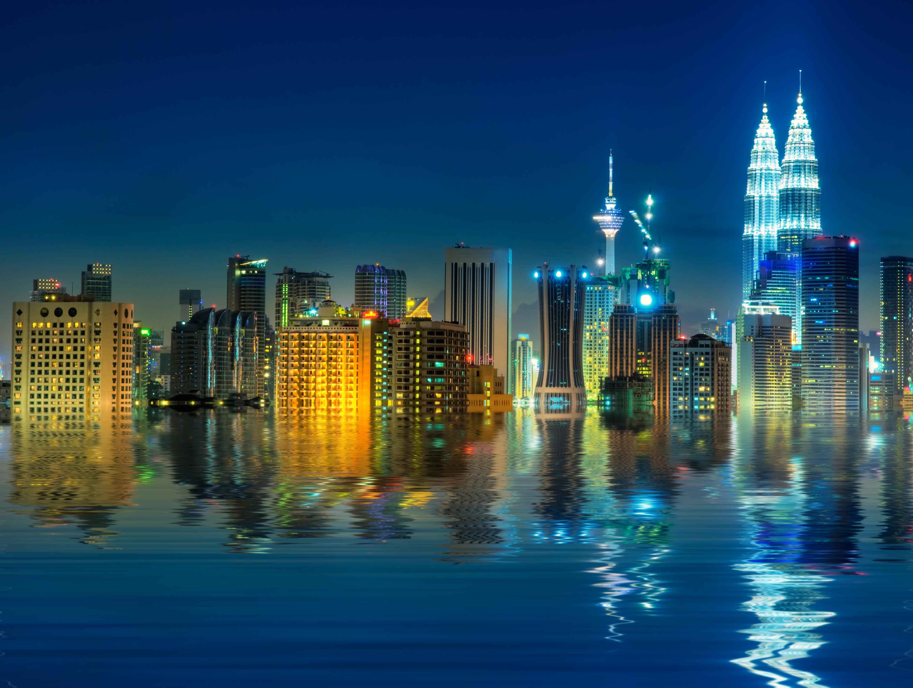 Kuala Lumpur skyline at night, Malaysia, Asia Pacific