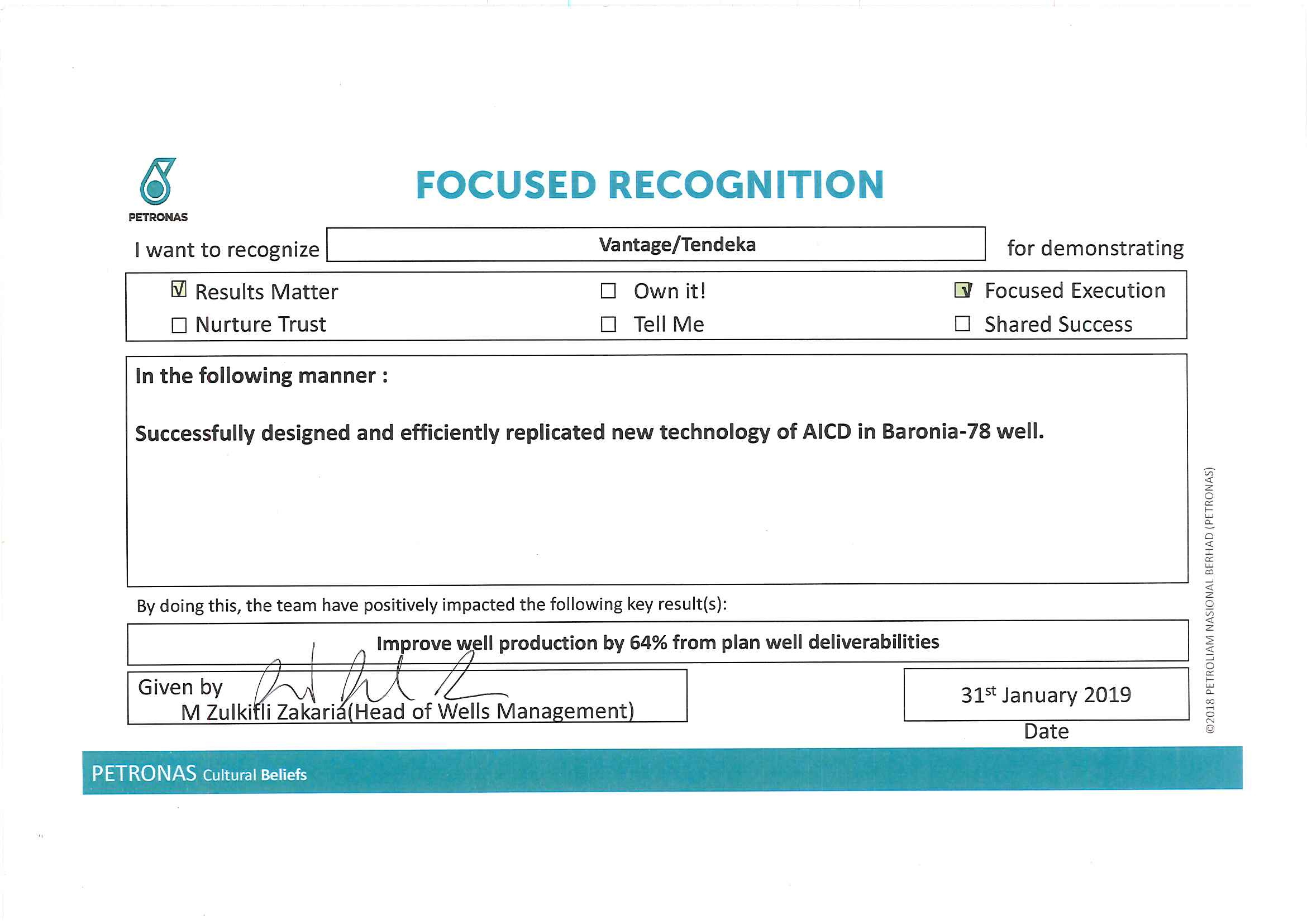 Baronia AICD Recognition for Tendeka