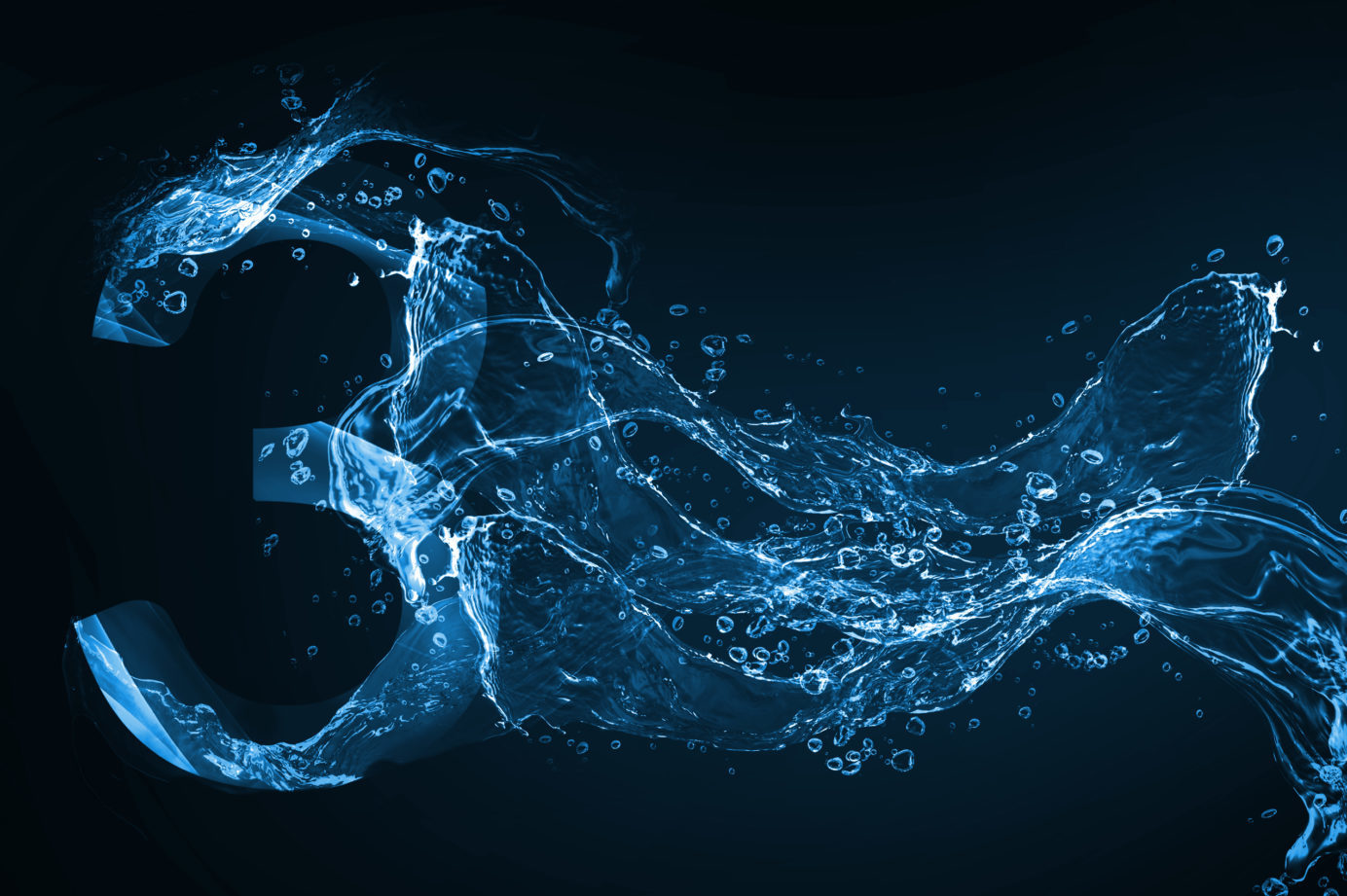 The number 3 with flowing water on black background