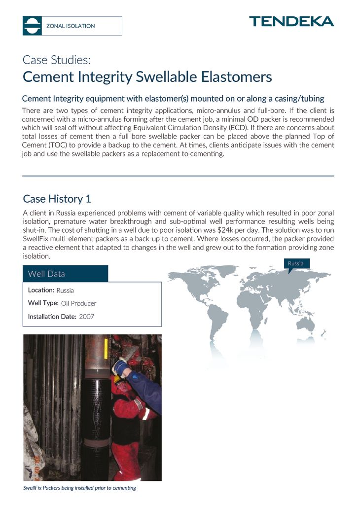 thumbnail of Cement Integrity Swellable Elastomers Case Studies