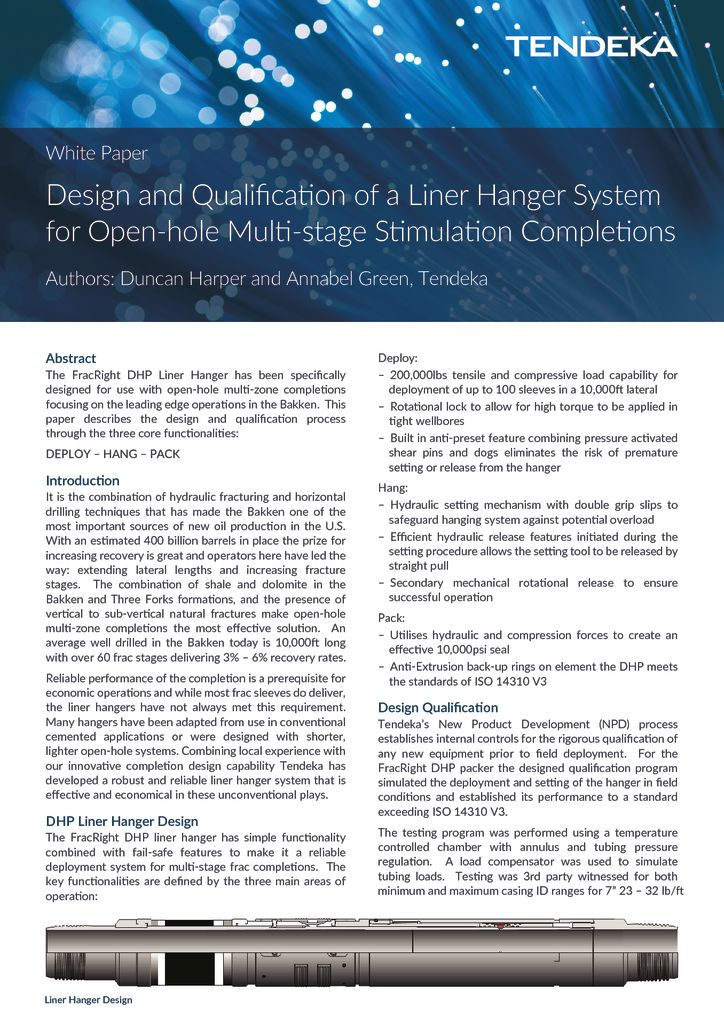 thumbnail of Design Qualification of a Liner Hanger System for OH Multi-stage stimulation