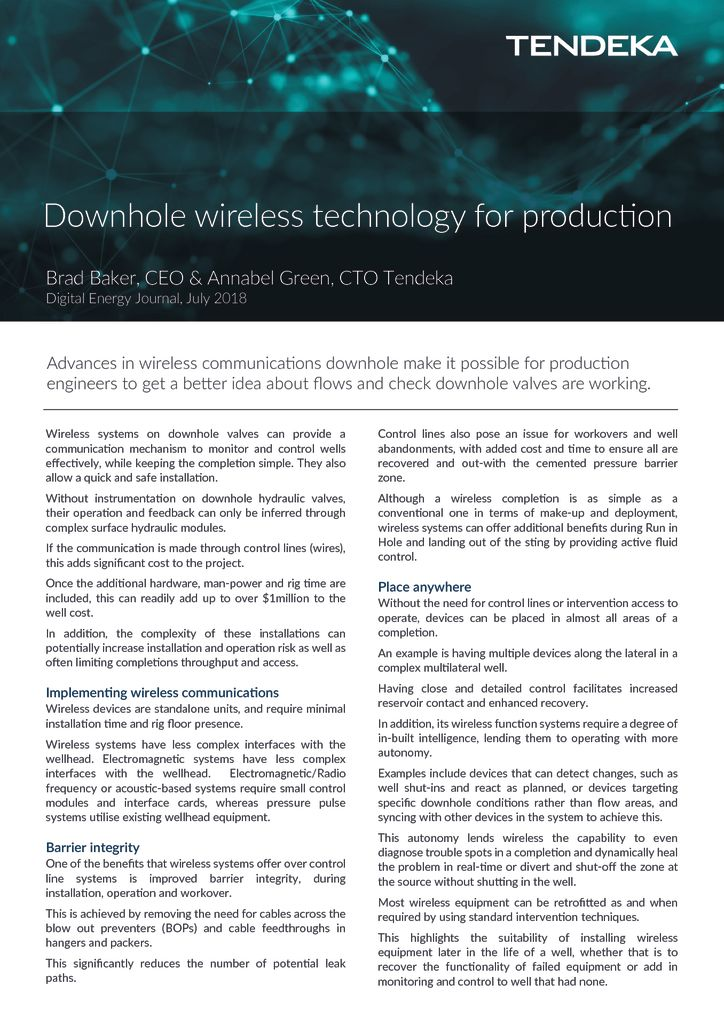 thumbnail of Downhole wireless technology for production – DEJ