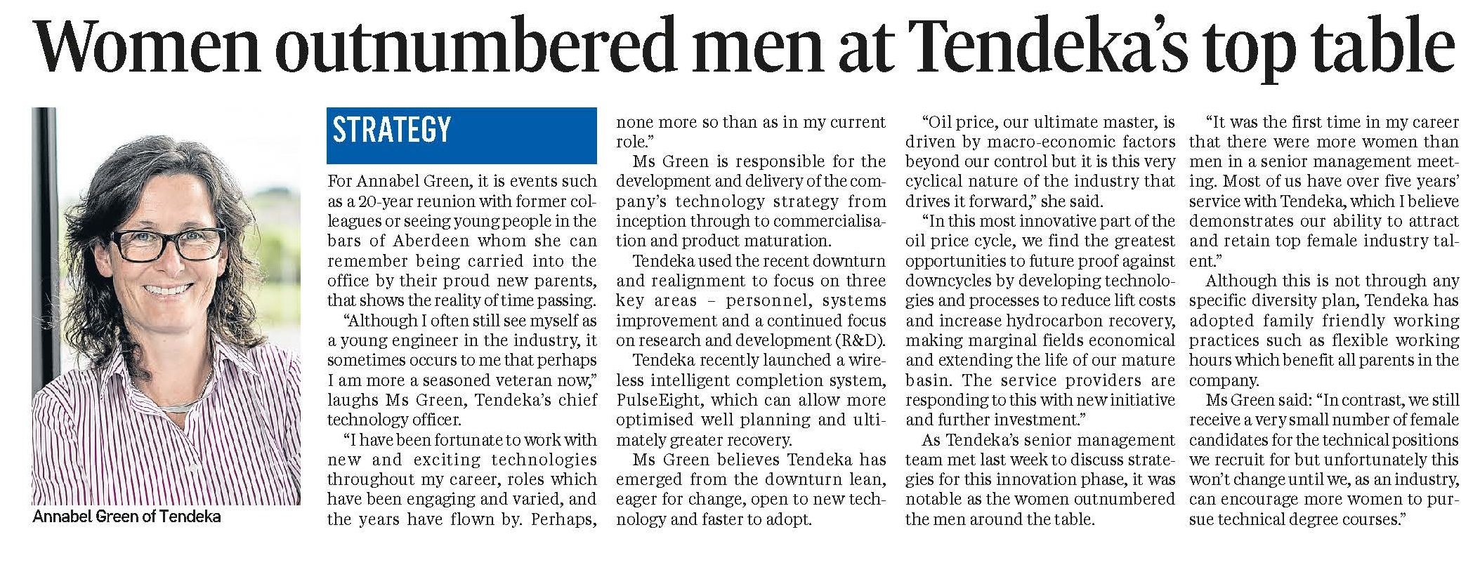 Energy voice article - Tendeka, Annabel Green