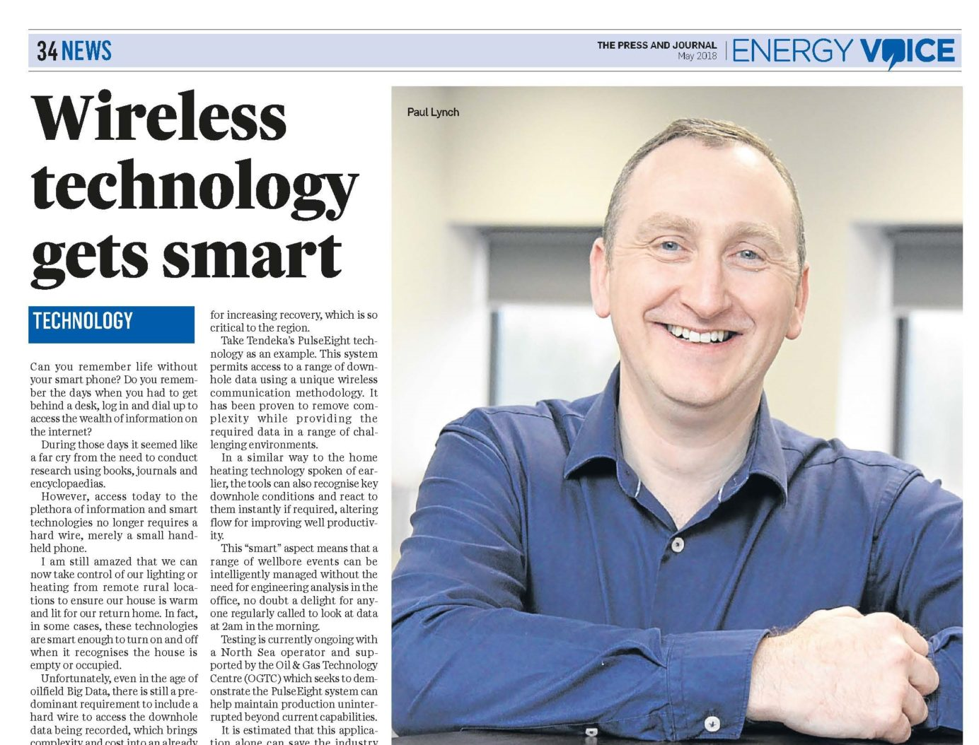 Energy voice press cutting with Paul Lunch