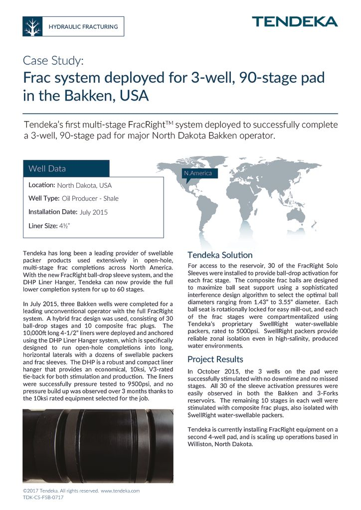 thumbnail of First Tendeka FracRight System Deployed in The Bakken_Case Study 2017