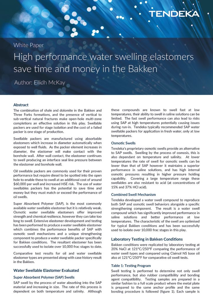 High performance water swelling elastomers save time and
