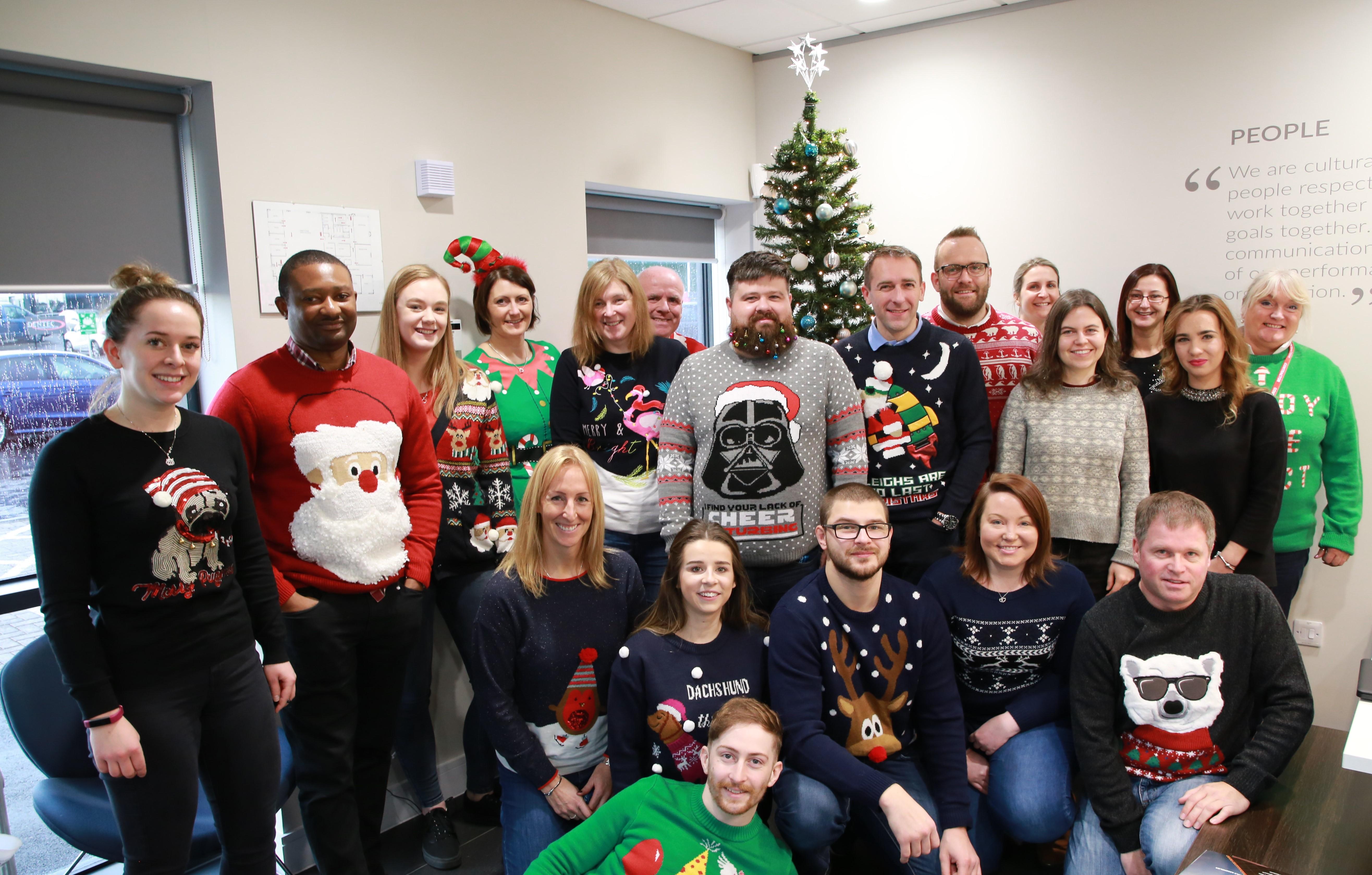 Tendeka team wearing their Christmas jumpers