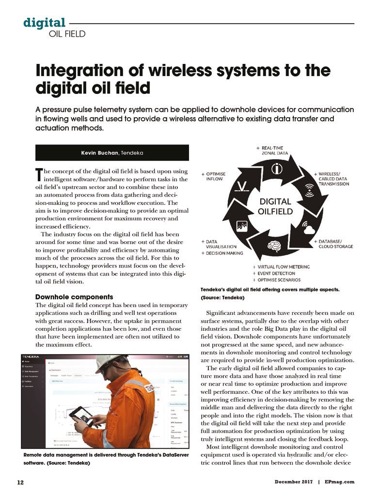thumbnail of Integration of wireless systems to the digital OF – Harts E&P December 2017