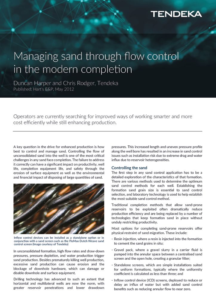thumbnail of Managing sand through flow control Press Release