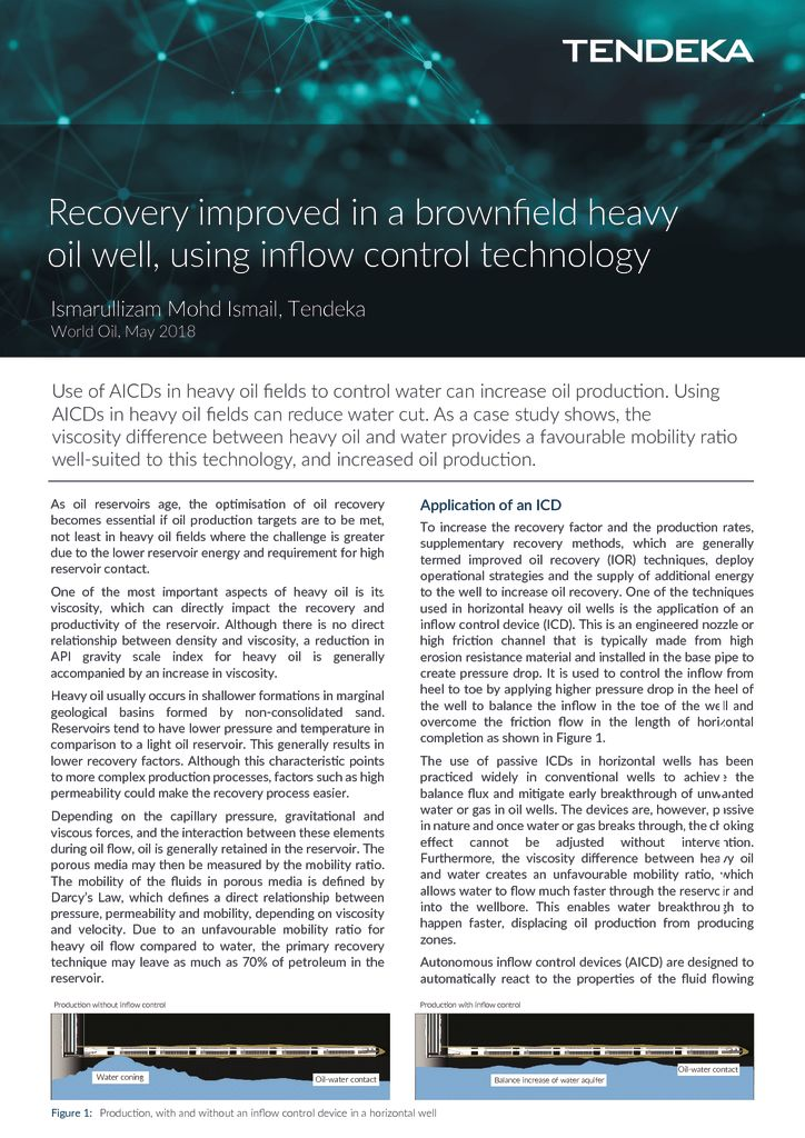 thumbnail of Recovery improved in a brownfield heavy oil well using inflow control technology