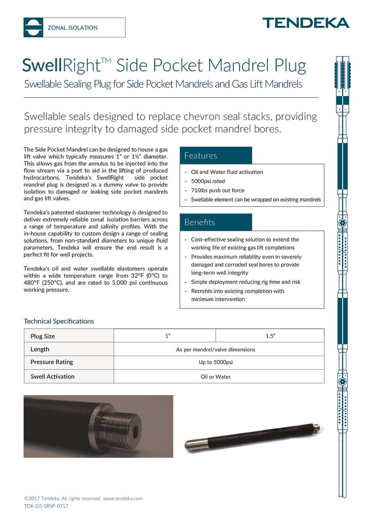 thumbnail of Swellright Side Pocket Mandrel Plug Datasheet 2017